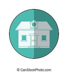 bleu, grenier, fenêtre, devant, maison, cercle, ombre, vue