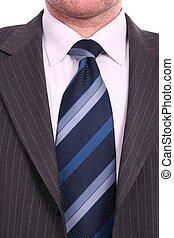 bleu, grijs, op, kostuum, zakenman, vastknopen, afsluiten
