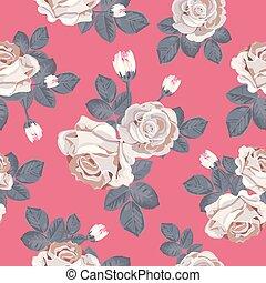 bleu, gris, arrière-plan., feuilles, pattern., seamless, illustration, roses, vecteur, retro, floral, blanc rouge
