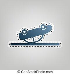 bleu, gris, contour, ecrasé, voiture, signe., arrière-plan., découpage, vector., icône, dehors