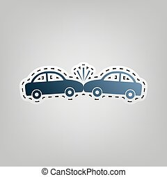bleu, gris, contour, ecrasé, voitures, signe., arrière-plan., découpage, vector., icône, dehors
