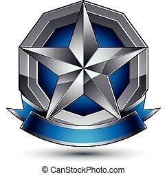 bleu, gris, emblème, classique, écusson, clair, isolé, eps, ...