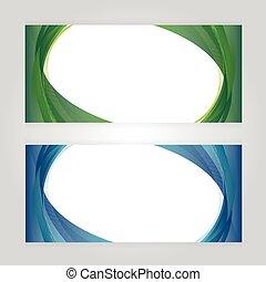 bleu, gris, résumé, vague, en-tête, vecteur, arrière-plan vert, conception, brin
