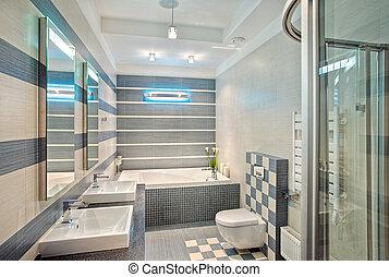 bleu, gris, salle bains, moderne, tonalités, mosaïque