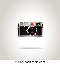 bleu, gris, style, vendange, photo, isolé, illustration, réaliste, vecteur, retro, fond, lens., brillant, appareil photo