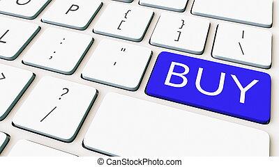 bleu, gros plan, achat, coup, rendre, informatique, key., clavier, conceptuel, 3d