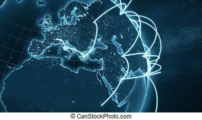 bleu, gros plan, amélioré, réseau, global, -, version, 4k, nouveau, boucle