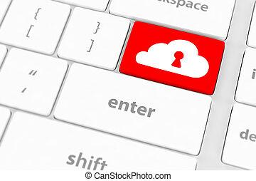 bleu, gros plan, concept, calculer, bouton, clavier, sécurité, nuage
