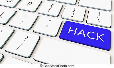 bleu, gros plan, coup, clavier, rendre, informatique, key., hacher, conceptuel, 3d