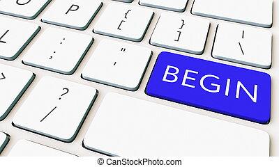 bleu, gros plan, coup, commencer, rendre, informatique, key., clavier, conceptuel, 3d