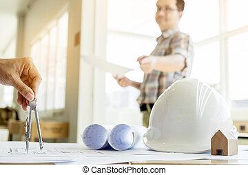 bleu, gros plan, equipment., main, projet architecte, impression, dessin, personne