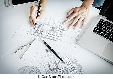 bleu, gros plan, equipment., main, projet architecte, personne, impression, dessin, ingénieur