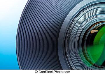bleu, gros plan, macro, -, slr, lentille, appareil photo, fond, blanc