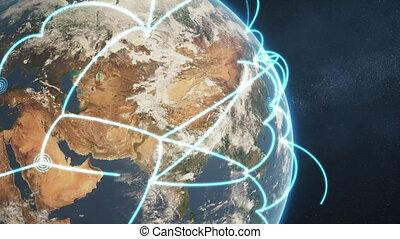 bleu, gros plan, réseau, global, version, boucle, jour terre, ?