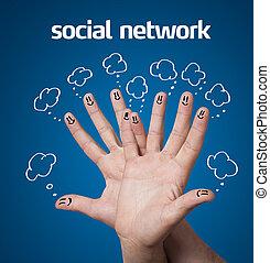 bleu, groupe, réseau, icônes, signe, smileys, doigt, fond, social, heureux