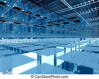 bleu, groupes, 3d, architecture