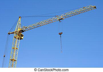 bleu, grue, construction, ciel, fond