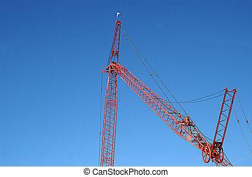 bleu, grue, construction, ciel