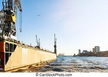 bleu, grues, docks, ciel, contre, port, hambourg