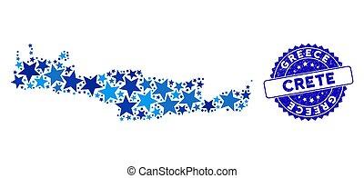 bleu, grunge, carte, mosaïque, cachet, crète, étoile,...