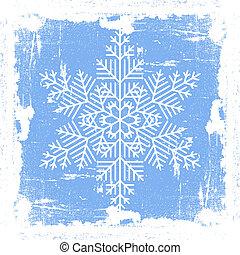 bleu, grunge, flocon de neige