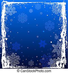 bleu, grunge, hiver, fond