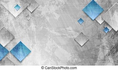 bleu, grunge, mur, gris, mouvement, conception, carrés