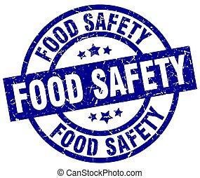 bleu, grunge, timbre nourriture, sécurité, rond