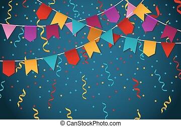 bleu, guirlande, fête, illustration, drapeau, vecteur, fond, bannière partie, célébration