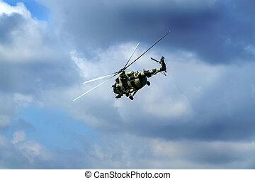 bleu, hélicoptère, voler, ciel, contre
