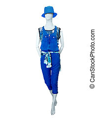 bleu, habillé, jean, overalls., mannequin, femme