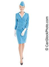bleu, habillé, uniforme, hôtesse, fond, blanc, charmer