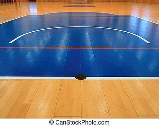 bleu, hall., marquer, cour basket-ball, coloré, plancher, peint, gymnase, schooll, lignes, intérieur., wall., hanball, lines., playfield, portail, blanc, gymnastique salle, bois