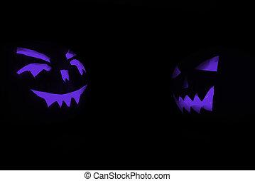 bleu, halloween, deux, figure, incandescent, noir, découpé, fond, citrouille