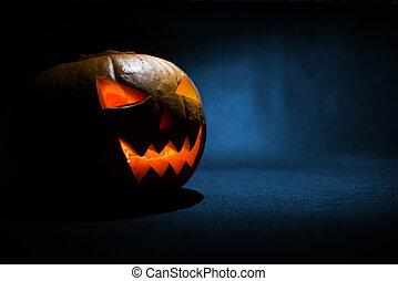 bleu, halloween, figure, incandescent, découpé, fond, citrouille
