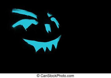 bleu, halloween, figure, incandescent, noir, découpé, fond, citrouille