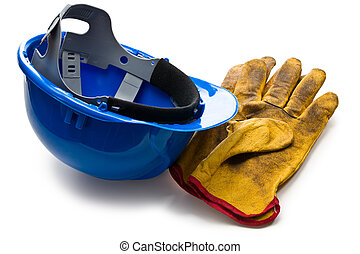 bleu, hardhat, et, cuir, fonctionnement, gants