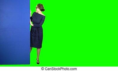 bleu, haut., affaires femme, écran, regarde, derrière, vert, pouces, spectacles, dehors, planche
