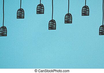 bleu, haut, isolé, lampe, noir, fin, dessiné, supports, vue