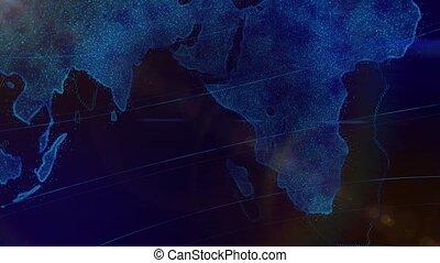 bleu, haut, planète, fin, la terre, rotation