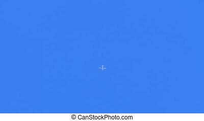bleu, haut voler, ciel, parachutistes, saut, avion, petit