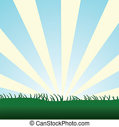 bleu, herbe, ciel, éclater