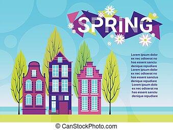 bleu, herbe, espace, printemps, ciel, maisons, vert, village, copie, bannière, paysage