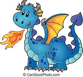 bleu, heureux, dragon