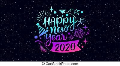 bleu, heureux, nouveau, pourpre, année, 2020, message, conception, icônes