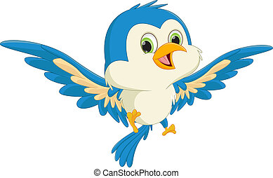 bleu, heureux, voler, dessin animé, oiseau