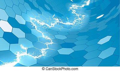 bleu, hexagone, électrique, fond, rayon miel