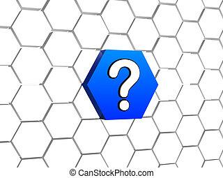 bleu, hexagone, question, signe