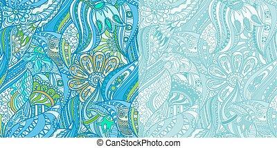 bleu, hiboux, forêt, motifs