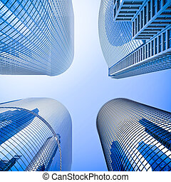bleu, highrise, angle, verre, gratte-ciel, coup, ...